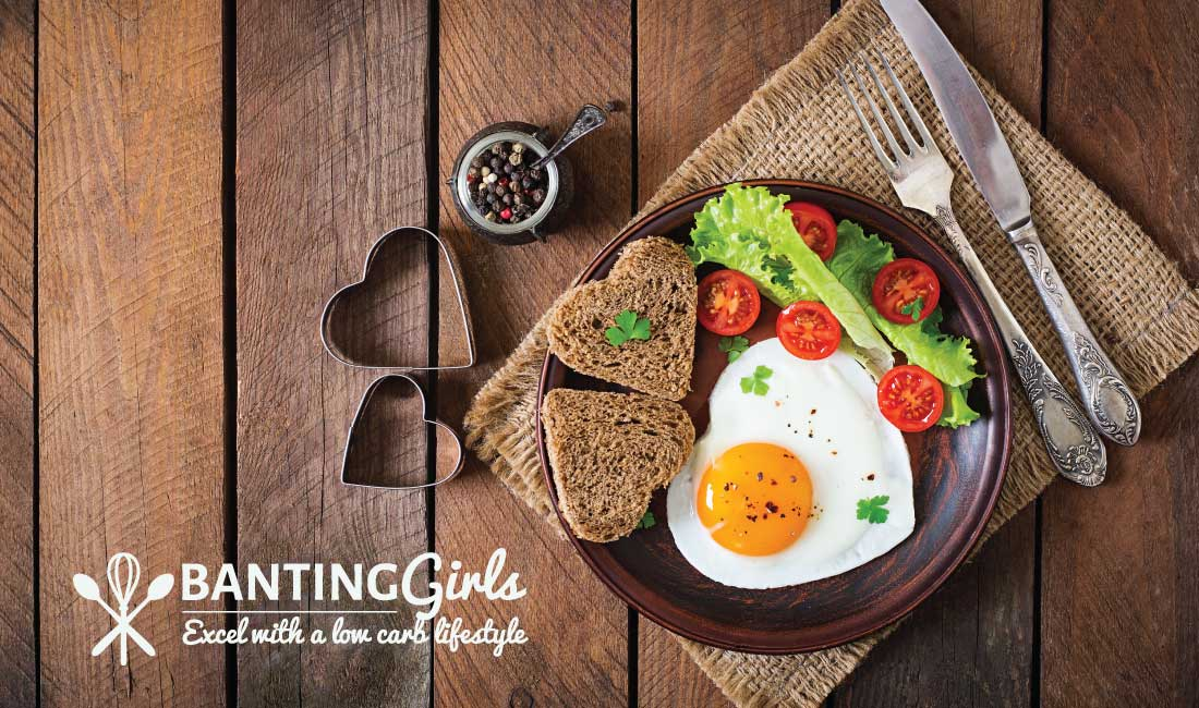 Heart shaped sunny side up egg with low carb bread