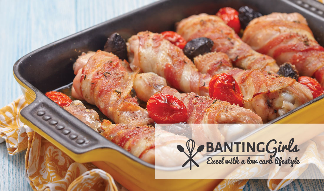 Chicken drumsticks wrapped in bacon