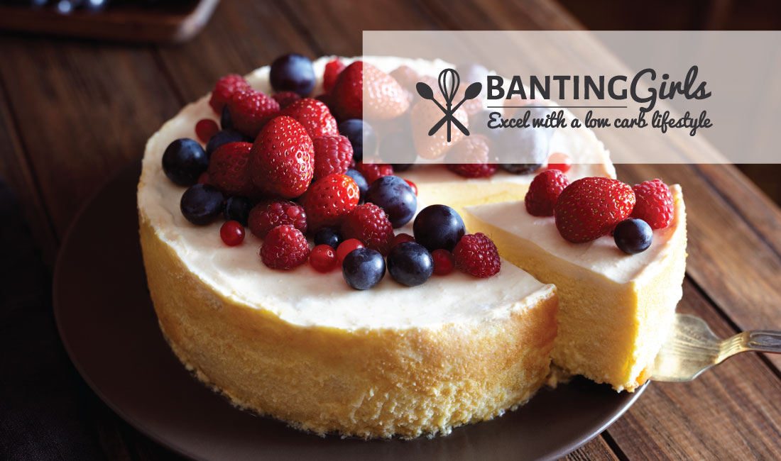 Coconut cream cheese cake with berries